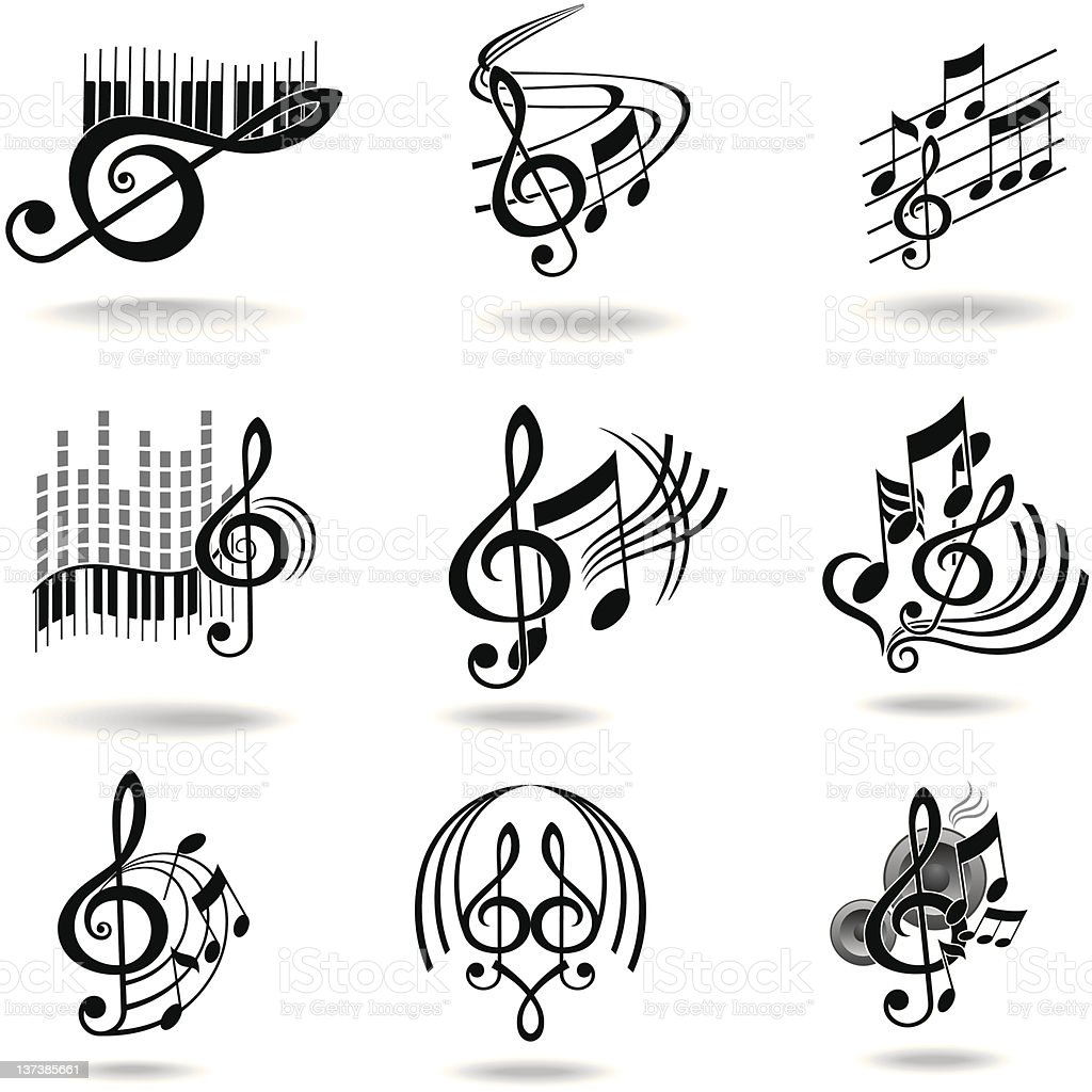 music notes set of design elements or icons stock vector art