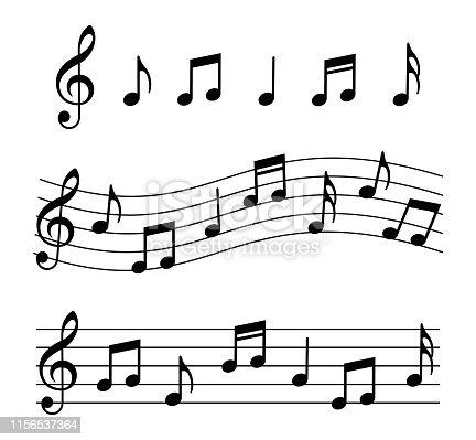 Music notes set. Vector illustration