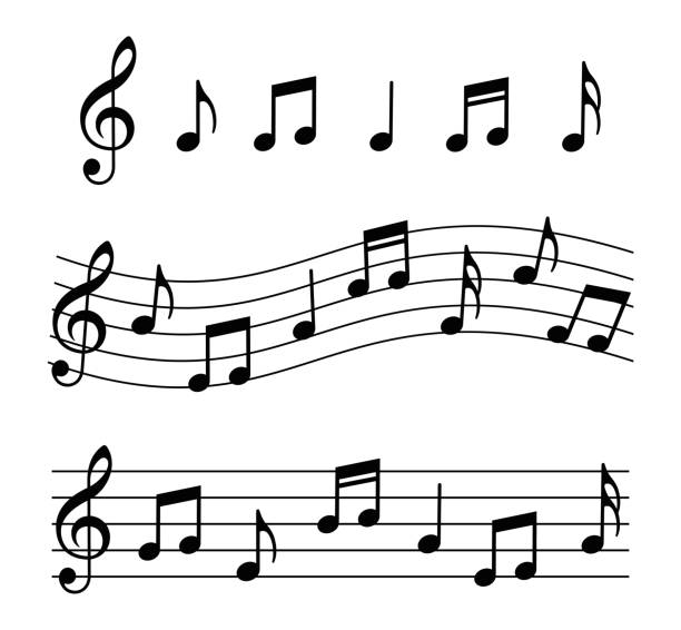 music notes set. vector illustration - klucz wiolinowy stock illustrations