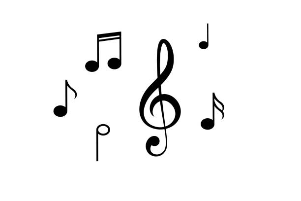 Music notes, song, melody and tune icon Music notes, song, melody and tune vector icon lyric stock illustrations