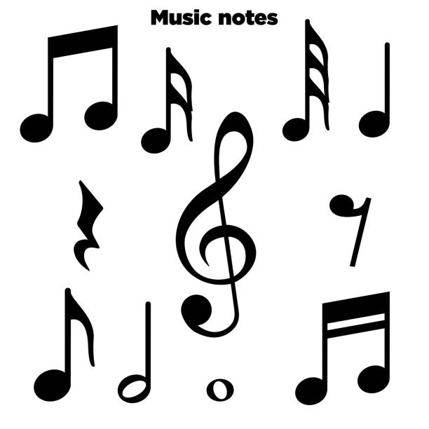Music notes, song, melody and tune vector icon Music notes, song, melody and tune vector icon lyric stock illustrations