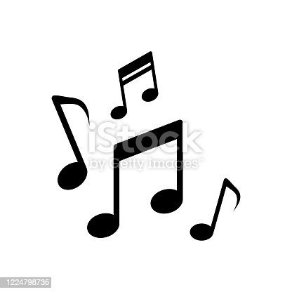 Musical notes, song, melody or tune flat vector icon for musical apps and websites