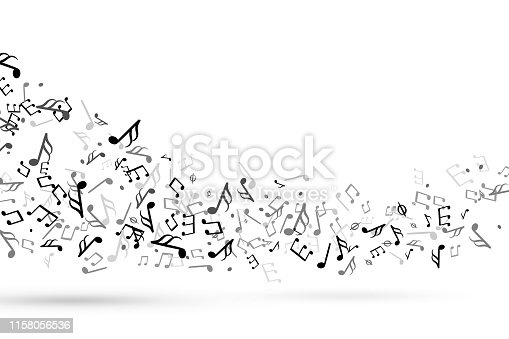 Music notes swirl. Wave with notes musical stave key harmony, symphony melody flowing music staff treble clef. Tuning swirling decoration vector background
