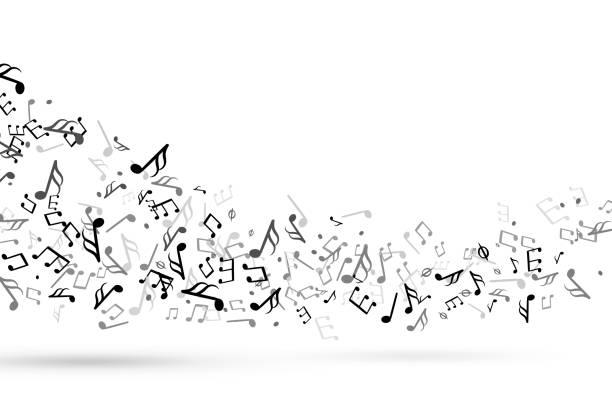 nuty muzyki wirują. fala z nutami muzyczna klepka key harmony, melodia symfoniczna płynąca personel muzyczny treble clef wektorowe tło - muzyka stock illustrations