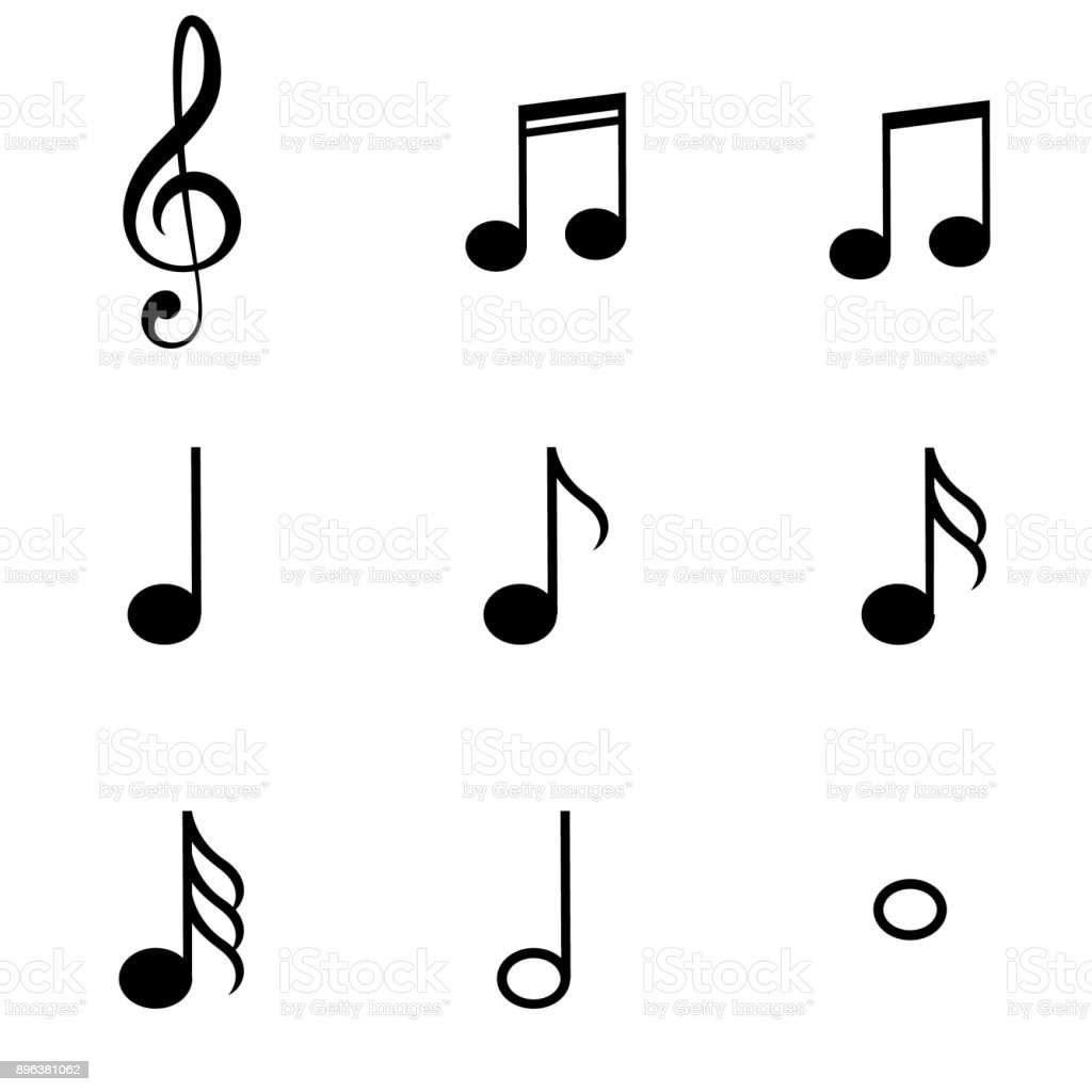 Music Notes Symbols Set vector art illustration
