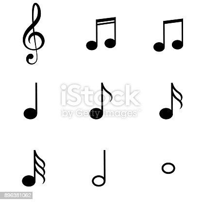 Music notes symbols set stock vector art more images of - Note musique dessin ...