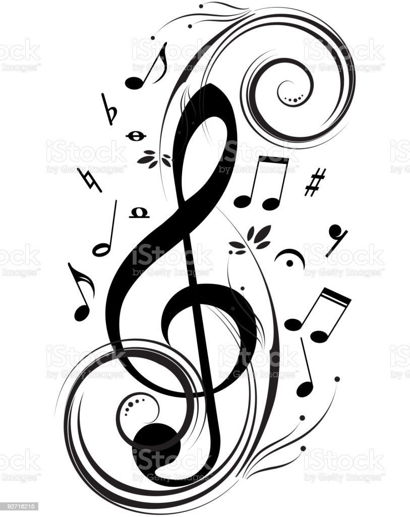 Music notes - symphony of the life vector art illustration