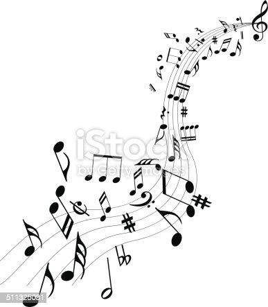 Music notes dancing away.