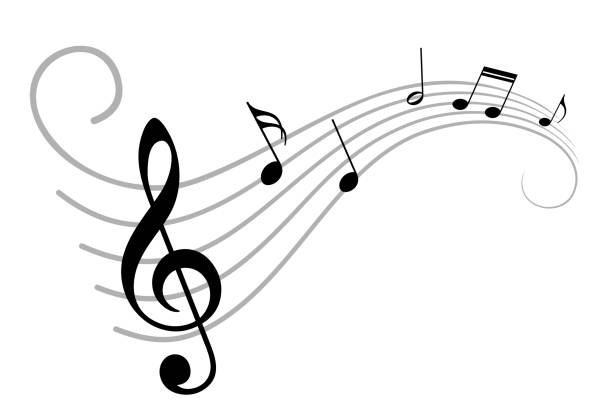 music notes. - klucz wiolinowy stock illustrations