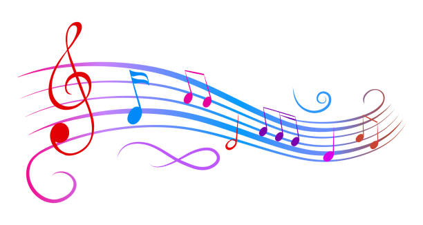 music notes wave, colorful group musical notes – stock vector - zapis nutowy stock illustrations