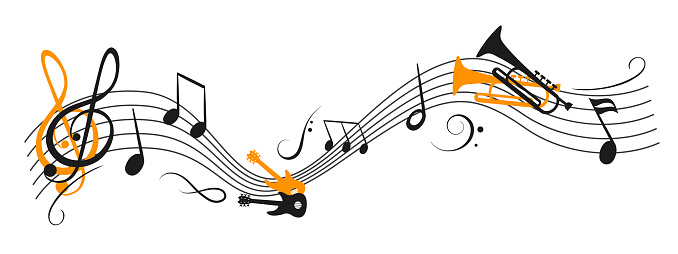 Music notes wave, group musical notes with a musical instrument – stock vector
