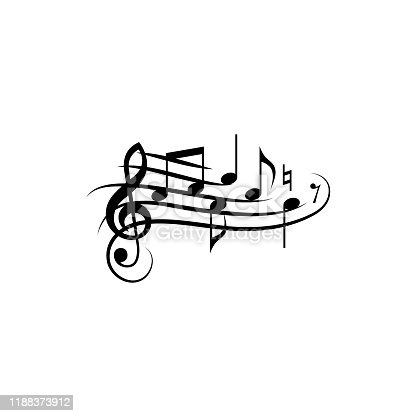 Music notes with curved staff. Black isolated vector.