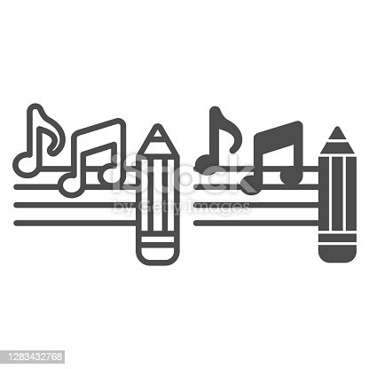 istock Music notes with pencil line and solid icon, Sound design concept, Creative process of writing song sign on white background, note and pencil icon in outline style for mobile and web. Vector graphics. 1283432768