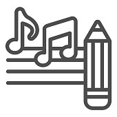 istock Music notes with pencil line icon, Sound design concept, Creative process of writing song sign on white background, note and pencil icon in outline style for mobile and web. Vector graphics. 1283434287