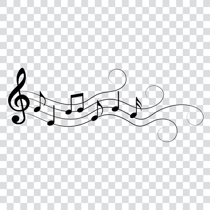 Music notes, with swirls and waves, vector illustration, eps 10.