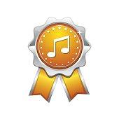 Music Notes Yellow Vector Icon Design