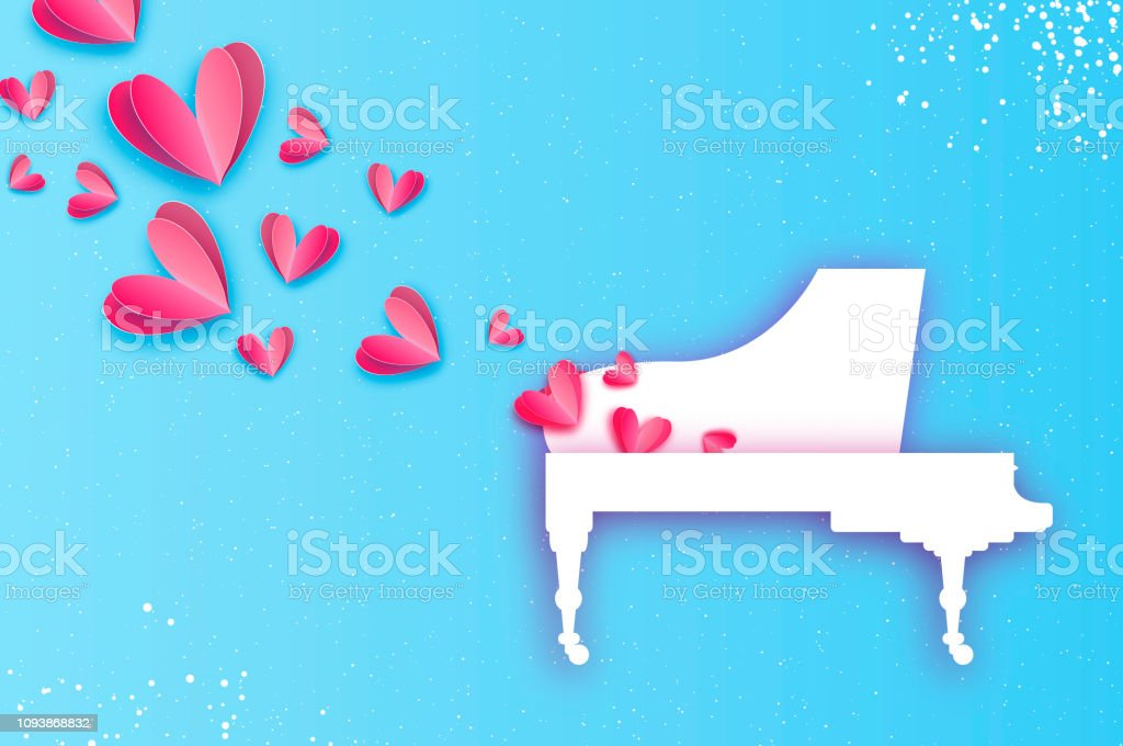 Muzik Ask Muzik Pembe Kalp Sekli Beyaz Kuyruklu Piyano Kagit Tarzi Kesti Sevgililer Gunun Kutlu Olsun Romantik Tatil 14 Subat Balayi Mavi Stok Vektor Sanati Ahenkli Nin Daha Fazla Gorseli Istock