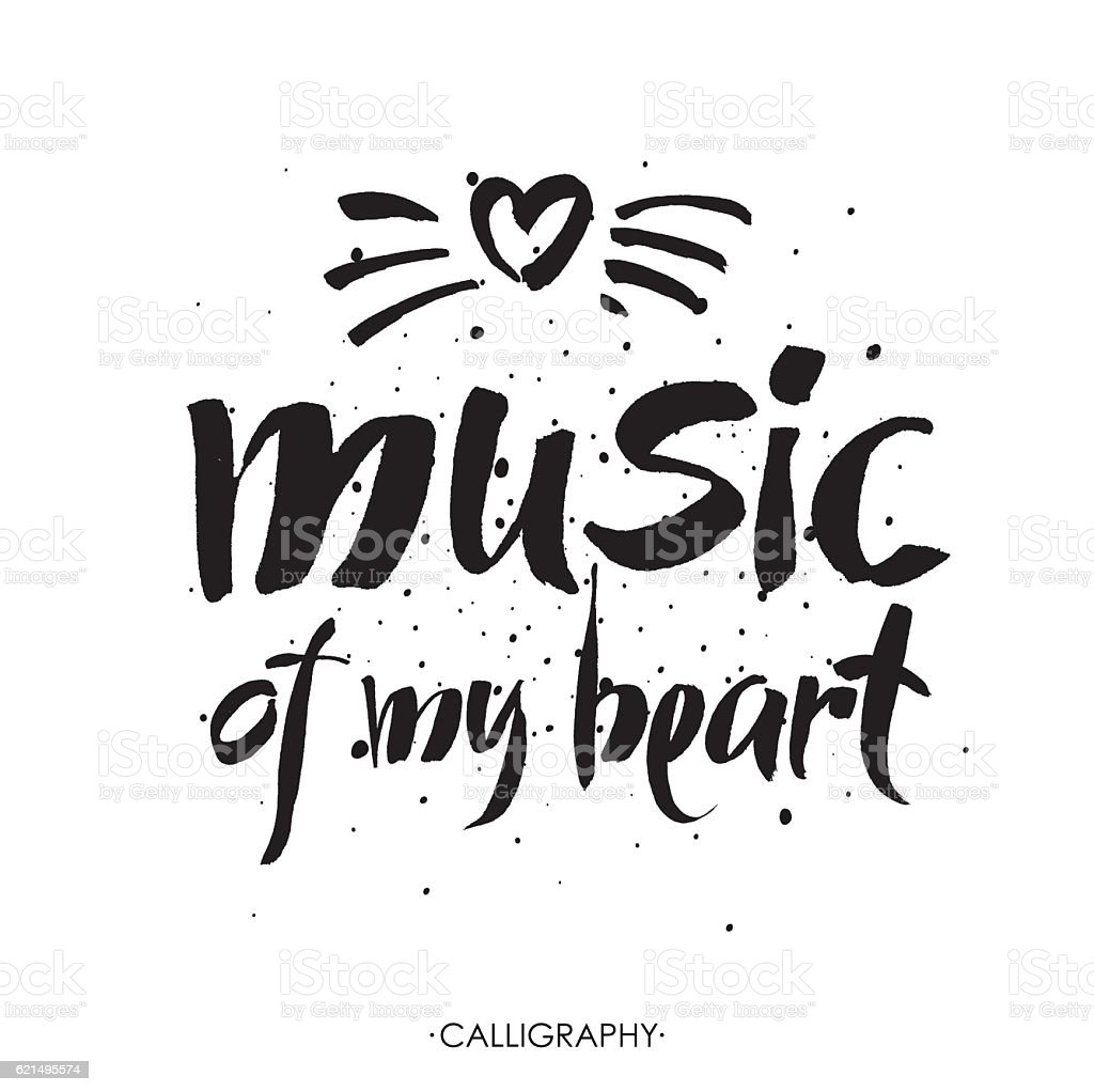 Music of my heart. hand drawn lettering. Vector music of my heart hand drawn lettering vector – cliparts vectoriels et plus d'images de abstrait libre de droits