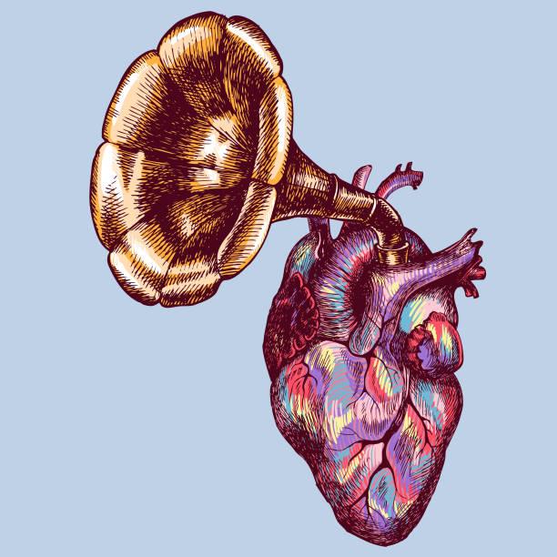 musik des herzens. handgezeichnete symbolischen vektor-illustration mit ein menschliches herz und ein grammophon-rohr. - surreal stock-grafiken, -clipart, -cartoons und -symbole