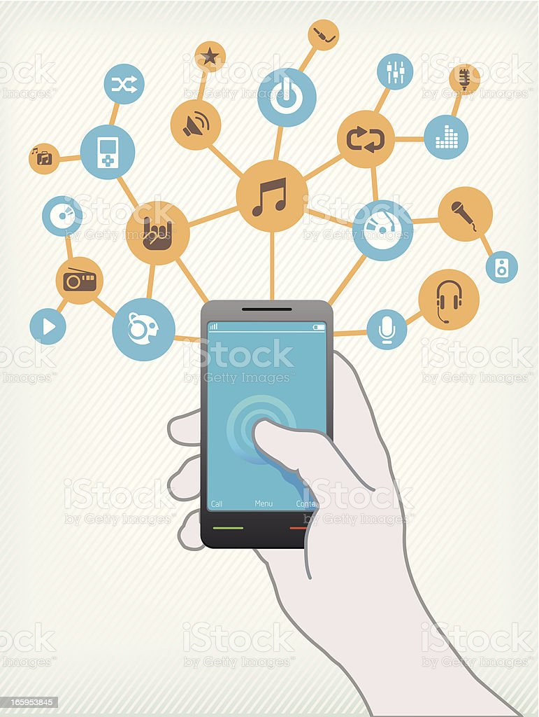 Music on Smartphone royalty-free music on smartphone stock vector art & more images of accessibility