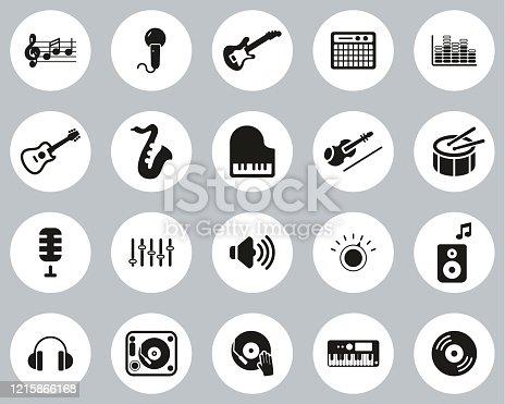 istock Music Or Music Studio Equipment Icons Black & White Flat Design Circle Set Big 1215866168