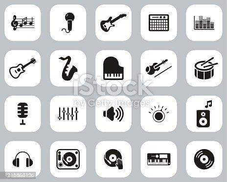 istock Music Or Music Studio Equipment Icons Black & White Flat Design Set Big 1215866195