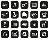 istock Music Or Music Studio Equipment Icons White On Black Flat Design Set Big 1215866180