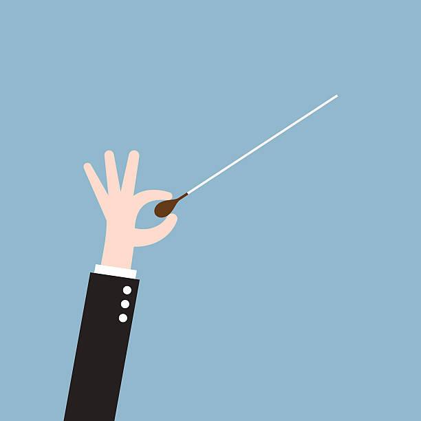 musik und orchester dirigent hand mit baton - bandleader stock-grafiken, -clipart, -cartoons und -symbole