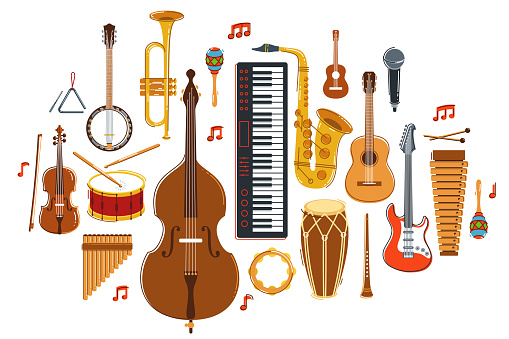Music orchestra diverse instruments vector flat illustration isolated on white background, live sound concert or festival, musical band or orchestra playing and singing songs.