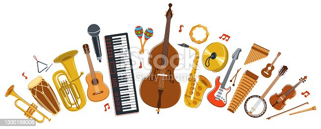 istock Music orchestra diverse instruments vector flat illustration isolated on white background, live sound concert or festival, musical band or orchestra playing and singing songs. 1330199008