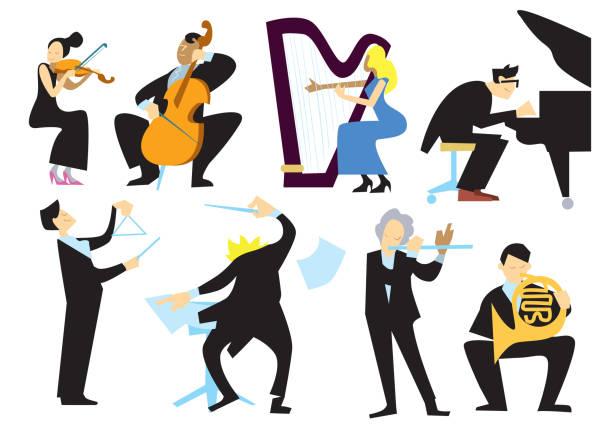musik, orchester personen, isoliert auf weiss - bandleader stock-grafiken, -clipart, -cartoons und -symbole