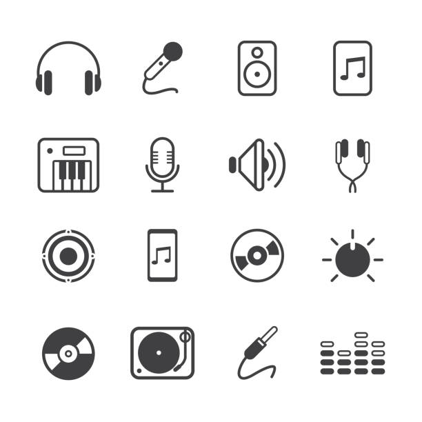 Music Outline Icons Set Music Outline Icons Set Black Color electronic music stock illustrations