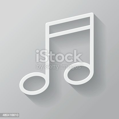 istock Music Paper Thin Line Interface Icon With Long Shadow 480416610