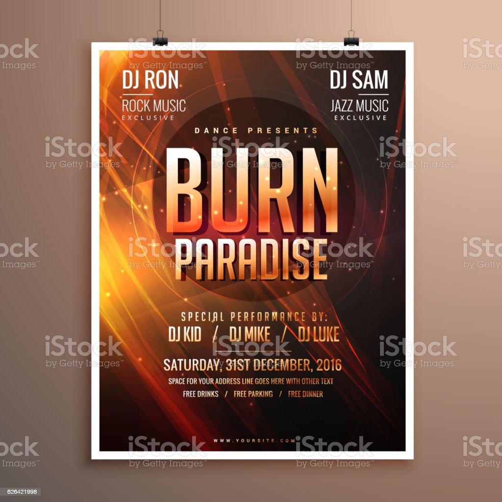 Music Flyer Template | Music Party Flyer Template Card With Abstract Fire Theme Stock