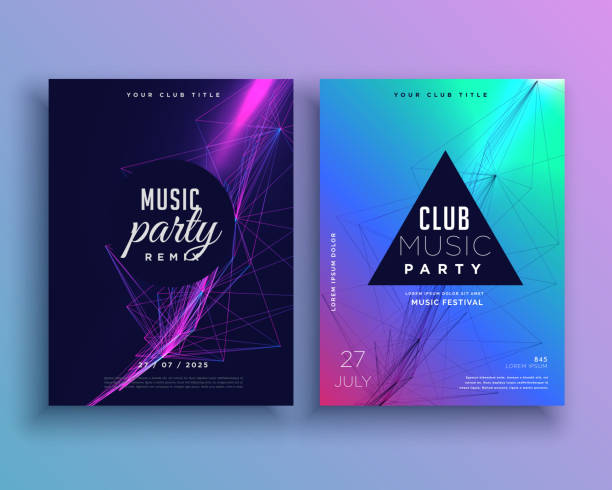 music party invitation poster template set - parties stock illustrations, clip art, cartoons, & icons