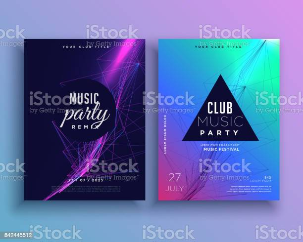 Music Party Invitation Poster Template Set Stock Illustration - Download Image Now