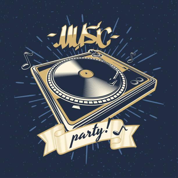 bildbanksillustrationer, clip art samt tecknat material och ikoner med musik part - skivspelare emblem - hip hop poster