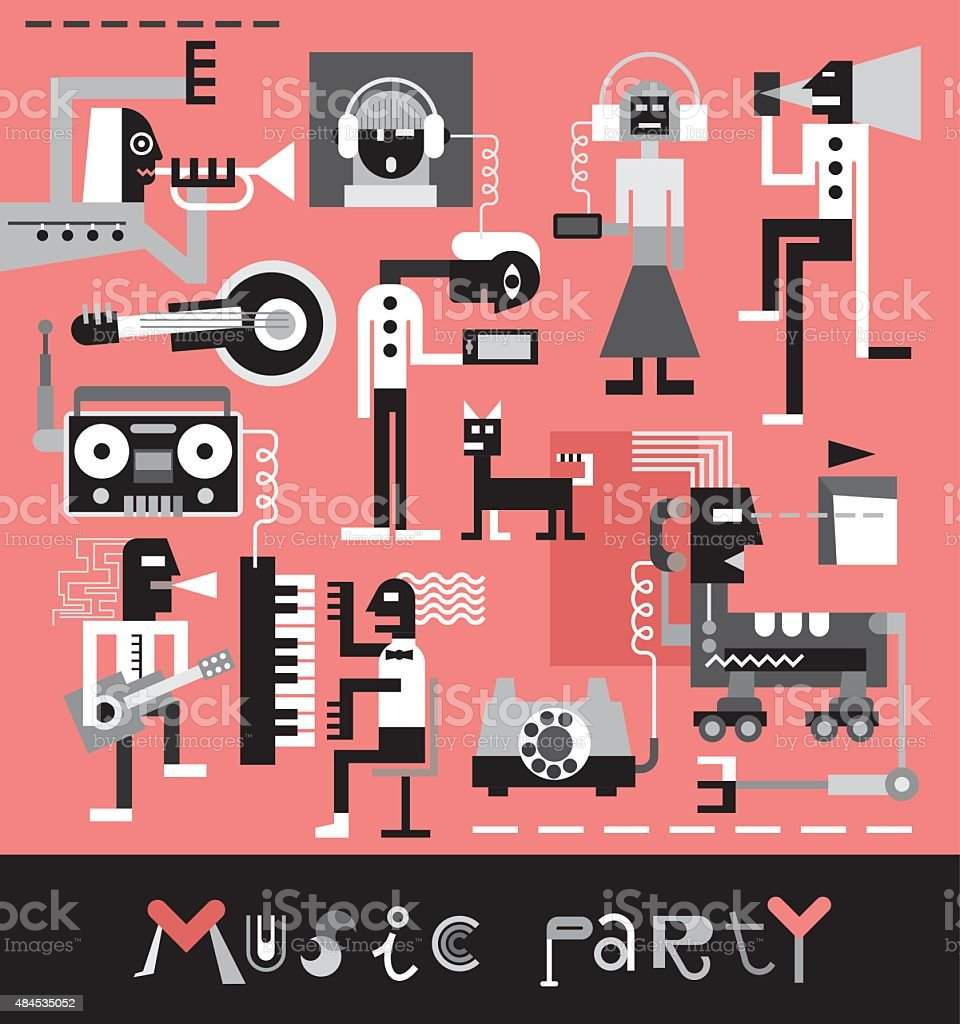 Music Party vector art illustration