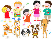Pet's concert. Pets and family sing and play musical instruments.