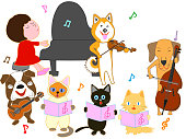 Pet's concert. Dogs and cats sing and play musical instruments.