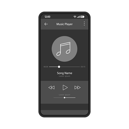 Music player app interface vector color template. Mobile application page black design layout. Media player navigation screen. Flat UI, GUI. Playing audio, radio. Phone display