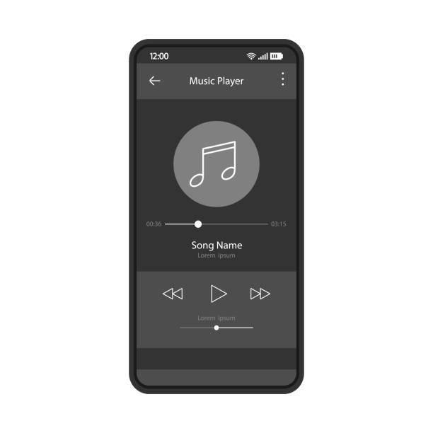 illustrations, cliparts, dessins animés et icônes de modèle de couleur vectorle d'interface d'interface de lecteur de musique - musique