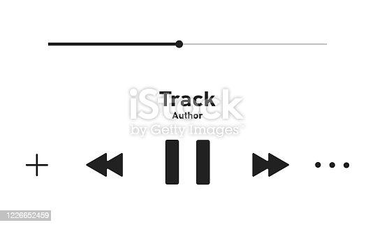 istock Music player bar, audio interface template illustration. 1226652459