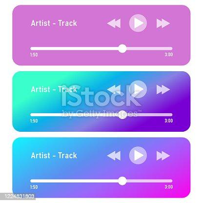 Music player bar vector set. Flat audio player interface set.
