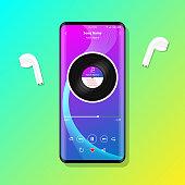 istock Music player interface on mobile phone earphones illustration vector 1335888572