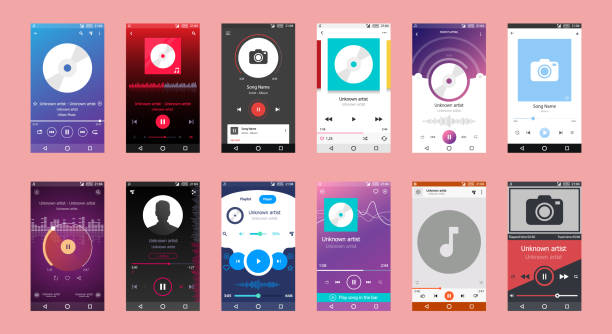 Music Player Interface,Music Player on Mobile Phone, Music Player Big Set of 12 Vector Icon vector art illustration