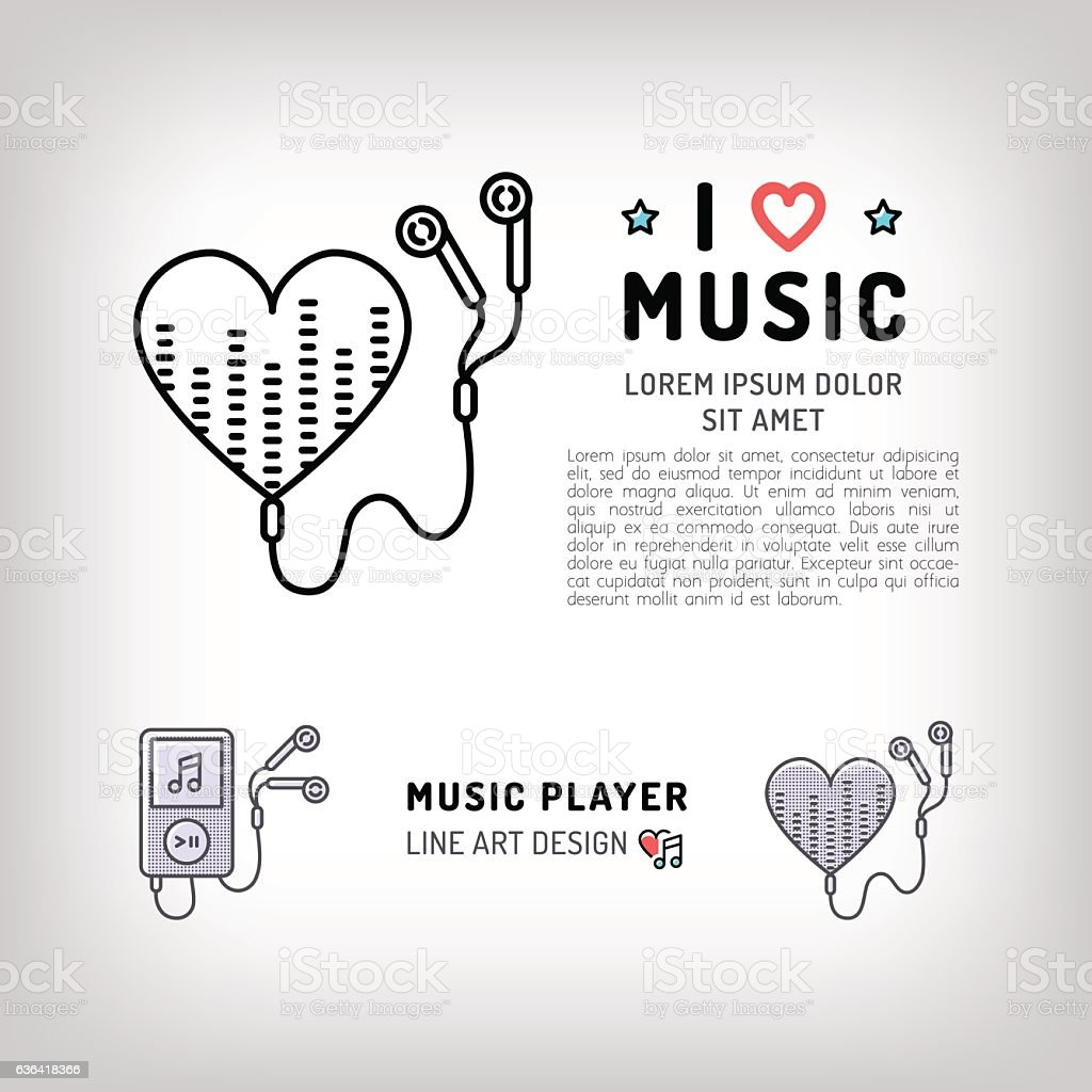 Music player isolated icon thin line symbol i love music stock music player isolated icon thin line symbol i love music royalty free music biocorpaavc Gallery