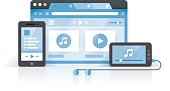 Music player, Mobile phone, Internet browser with music and video media files on screen. Idea - Online music collection, Share music between devices, Cloud computing, New technologies for audio.