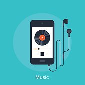 Vector illustration of music player flat design concept.