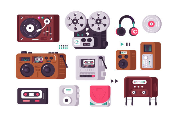 music players set - record analog audio stock illustrations